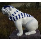Sculpture animaux en résine BULLDOG BOULEDOGUE USA GM ASSIS CRAVATE MARINIERE