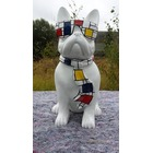 Statue animaux en résine BULLDOG BOULEDOGUE PM CRAVATE MONDRIAN