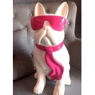 Statue animal en résine BULLDOG BOULEDOGUE PM CRAVATE BI COLOR