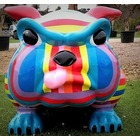 Sculpture animal en résine BULLDOG BOULEDOGUE CARTOON MULTICOLORE GM