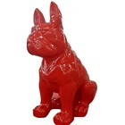 Statue animal en résine BULLDOG BOULEDOGUE GEANT ASSIS MONOCHROME