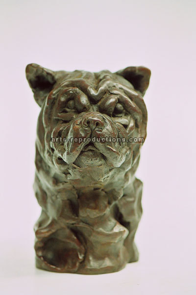 Sculpture d'art Statue en Bronze chien bouledogue 2503200715