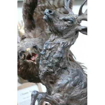 Sculpture d'art Statue en Bronze Faune sauvage