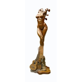 Sculpture d'art Statue en Bronze Femme guitare
