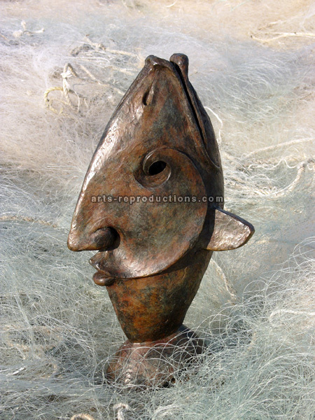 Sculpture d'art Statue en Bronze L'homme poisson 20