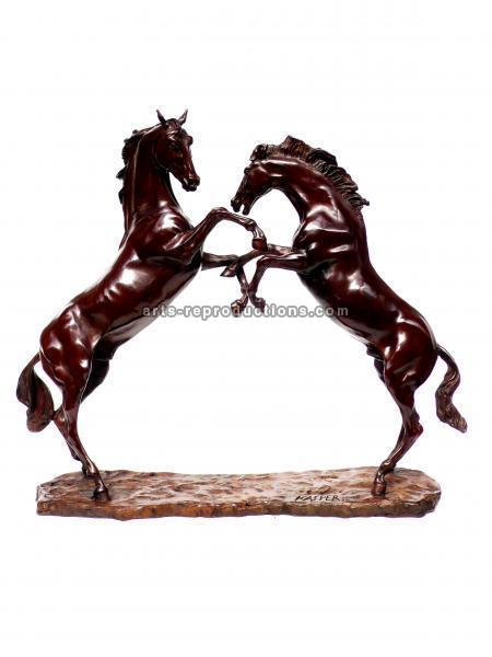 Sculpture d'art Statue en Bronze Ruade de chevaux N3